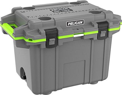 Pelican Elite 50 Quart Cooler (Dark Grey/Green) (Renewed) (Green Pelican Tie)