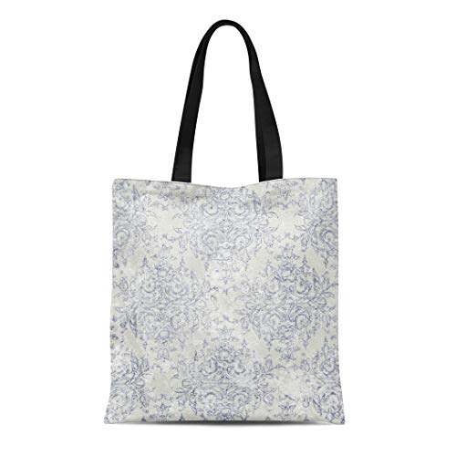 Semtomn Canvas Tote Bag Blue French Taupe and Navy Toile Beige Antiqued Filigree Durable Reusable Shopping Shoulder Grocery Bag