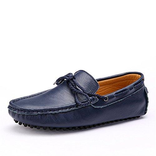Cuero Hombre Negro HUAN Azul Mocasines Exterior Slip Para Ons de Mocasines y B Marrón de Zapatos Naranja ffwxRqZ8