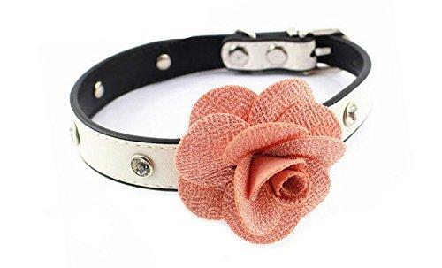 Benala 1 Row Rhinestone Dog Collar Diamond Pu Leather Pet Collars With Handmade Rose Flower