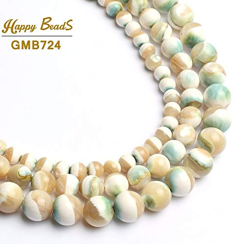 Pukido Natural Round Luminous Shell Beads for Making Jewelry 6/8/10mm 15inches Beads DIY Women