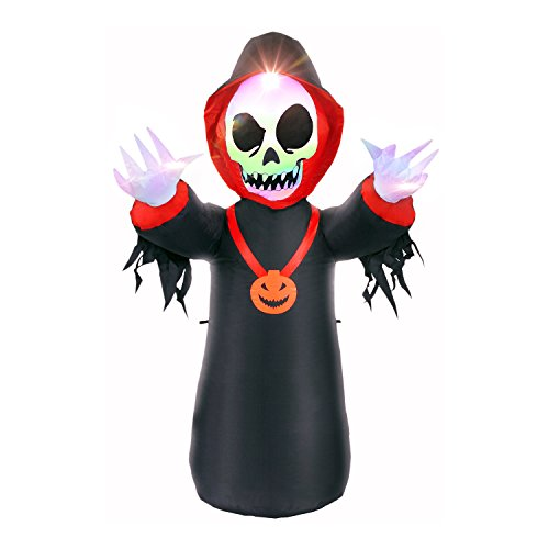 BrightTouch Halloween Decorations Inflatables for Outdoor or Balcony. with Led Lights. 4 Feet Skeleton