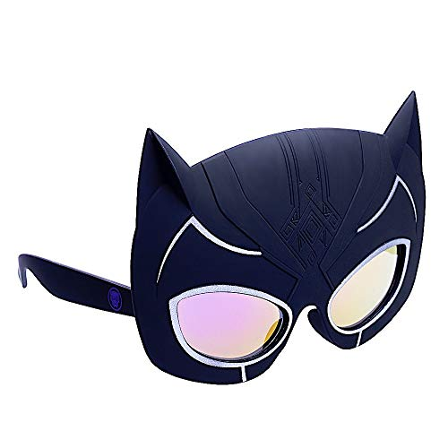 Sun-Staches Officially Licensed Lil' Character Black Panther Toy, Black, White, One Size SG3382]()