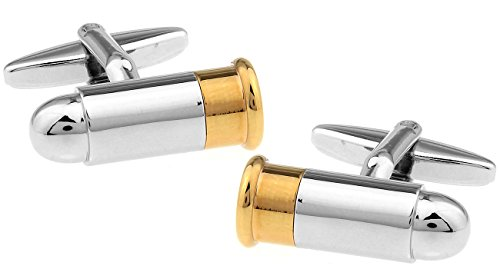 Silver and Gold Tone Bullet Replica Cufflinks Novelty in Deluxe Gift ()