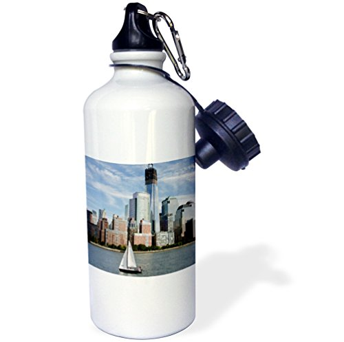 3dRose wb_190329_1 New York, New York. Manhattan city skyline, Freedom tower and sailboat - Sports Water Bottle, 21oz by 3dRose