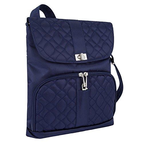 Travelon Women's Anti-Theft Signature Messenger Bag, Lush Blue