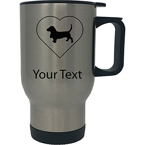 Custom Personalized Basset Hound Heart 14 Ounce Silver Stainless Steel Travel Coffee Mug with Handle Basset Hound Travel Mug