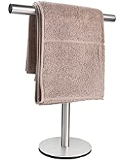Bath Hand Towel Holder Standing, T-Shape Towel Bar Rack Stand, SUS304 Stainless Steel Brushed Finish,Tower Bar for Bathroom Kitchen Vanity Countertop