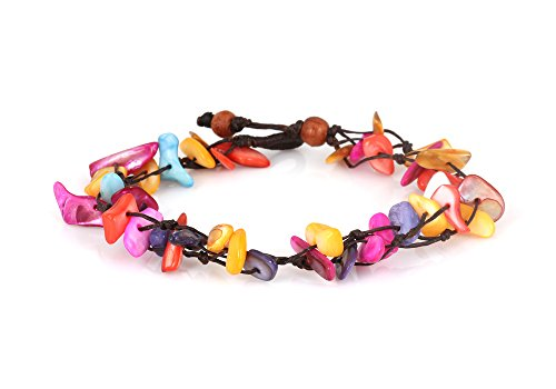 Mary Grace Design MGD, Colorful Dyed Shell Chip Anklet. Beautiful 26 Centimeters Handmade Stone Anklet Made from wax cord. Fashion Jewelry for Women, Teens and Girls, JB-0131A