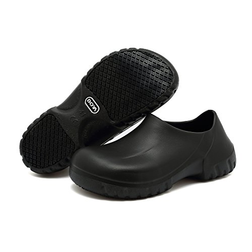 EASTSURE Slip Resistant Shoes For Women Men Black Non Slip Kitchen Work Shoes For Nurse Chef,US 8.5,EU 41 - Waterproof Womens Clogs