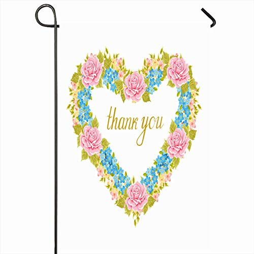 - Ahawoso Outdoor Garden Flag 12x18 Inches Greeting Green Floral Shape Heart Vintage Shabby Pink Bouquet Celebration Classic Date Elegance Two Sides Seasonal Home Decor House Yard Sign Banner