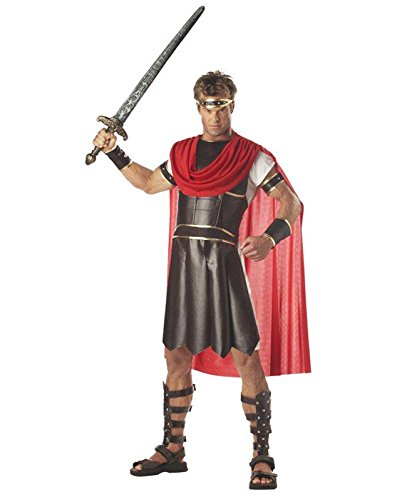 Gladiator Helm (California Costumes Men's Adult-Hercules, Brown/Red, M (40-42) Costume)