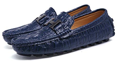 Sunrolan Ahern Menns Krokodille Skinn Slip-on Flate Loafers Litt Ornament Kjøre Mokasiner Båt Sko Marineblå