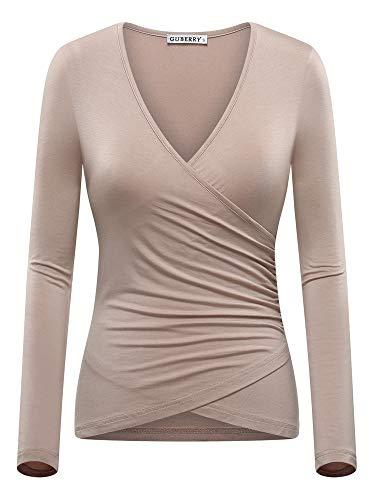T Shirt Women Fitted Deep V Neck Wrap Top ()