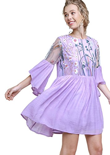 Umgee Women's Floral Embroidered Lace Keyhole Angel Sleeve Dress (Medium, Lavender) ()
