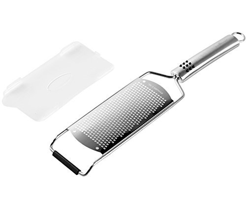 "Culina Hand-held Fine Spice Grater 12.5"". Stainless Steel. Professional-Grade Tool 1 Has a non-slip rubber grip just above its head to keep it steady on a tabletop during grating. 5"" x 2.5"" grating area . Generous size allows high performance, quick results. Blade protector to keep safe from extremely sharp blade surface Easy care instructions: Dishwasher safe. ATTENTION: wear cut-resistant gloves if hand washing or use a brush w/ warm soapy water Fine Perforations ideal for custom spices and zest"
