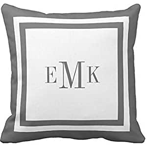 Charcoal Preppy Ribbon Dots Custom Monogram Throw Pillow case 16*16