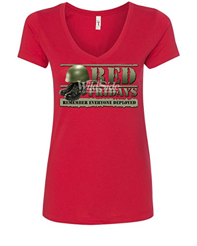 Red Fridays Remember Everyone Deployed Women's V-Neck T-Shirt Support US Troops Red 2XL