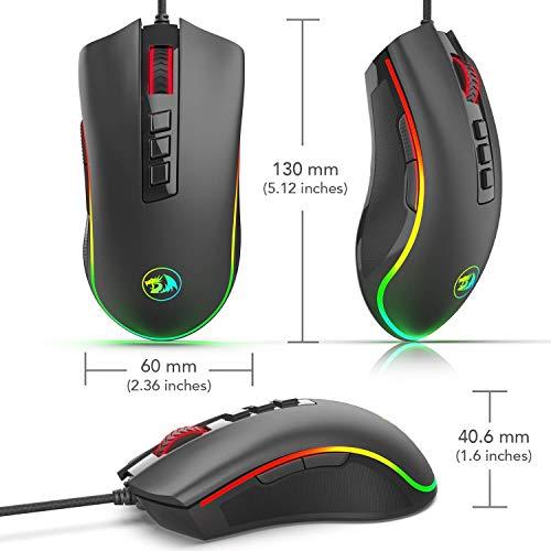 Mouse Gamer Cobra com LED RGB M711, Redragon, Mouses, Preto