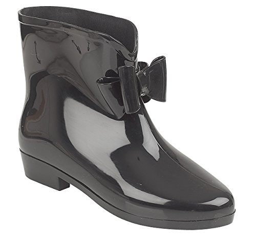 Womens Ankle with Black Wellington Rain Black Boots Ladies Snow Bow Bow wellies Boots HfrI1xUqwH