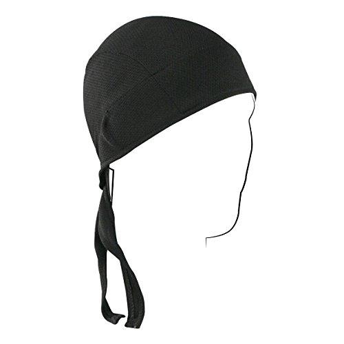 Premium Solid Black Coolmax with Sweatband Head Wrap Biker Hat Durag Skull Cap Stretch