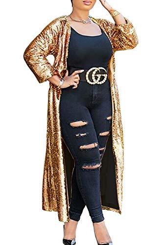 De yulinge Delantera Rebeca Longitud Chaqueta Lentejuelas Abierto Oro Mujer De Outwear qqwxn47p6