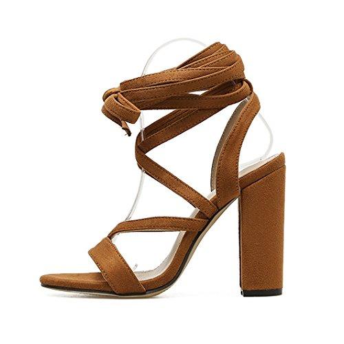 Peep Robe Hauts Cheville Pompes Talons à Strappy Chaussures Brown Toe Femmes Romaine La Mariage Chaussures Sexy Bride Parti Sandales Dames Satin Bloc 8twqZO
