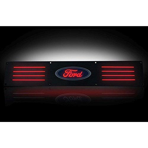Ford 09-14 F150 & 09-14 SVT RAPTOR Billet Aluminum Door Sill / Kick Plate (2pc Kit Fits Rear Doors Only) in Black Finish - Ford Logo in RED ILLUMINATION
