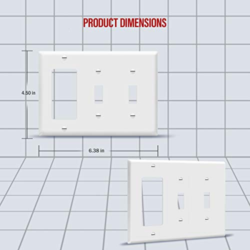 """ENERLITES Combination Double Toggle/Single Decorator Rocker Outlet Wall Plate, Standard Size 3-Gang Light Switch Cover(4.5"""" x 6.38""""), Polycarbonate Thermoplastic, UL Listed,881231-W, White, Two One"""