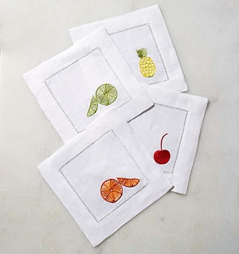 Sferra Frutta Embroidered Cocktail Napkins Set of 4 by Sferra