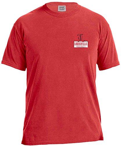 NCAA Louisville Cardinals Vintage Baseball Flag Short Sleeve Comfort Color T-Shirt, X-Large,Red