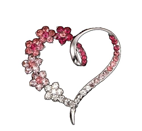 Colored Flower Pin (Flower Pink Rose Colored Open Heart Shaped Crystal Pin Brooch Jewelry)