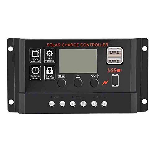 Finedayqi ❤ 10/20/30A Solar Panel Controller Battery Charge Regulator 12V/24V Auto with Dual -