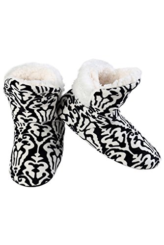 ICONOFLASH Women's Faux Fur Trim Bootie Slipper with Faux Shearling Lining (Medium/Large, 8-10 US, Black & White Damask)