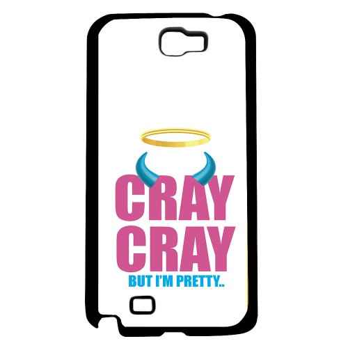 Pink And Blue  Cray Cray  But Im Pretty  Words With Blue Horns On White Background Hard Snap On Phone Case  Note 2 Ii
