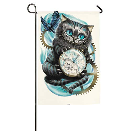 Xzcxyadd A Cat with Alice in Wonderland Background Garden Flag Yard Decorations Flag for Outdoor Use Happy Summer Polyester Flags -