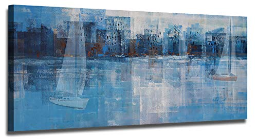 Ardemy Canvas Wall Art Abstract Blue Cityscape Painting Coastal Picture Prints, Modern Design Large Size Seascape Sailboat 40