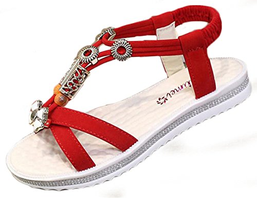 NEWZCERS - Sandalias de vestir para mujer Rojo
