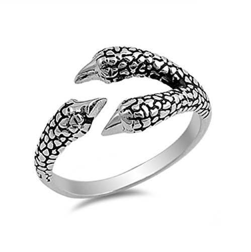 - CloseoutWarehouse Sterling Silver Eagle Claw Designer Ring Size 10