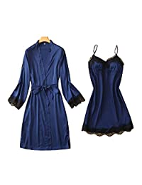 Chinashow Womens Satin Pajamas Set Sexy Ice Silk Suit Set Sleepwear/Nightwear Clothes, Navy Blue#C