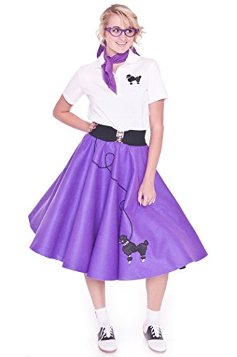 Hip Hop 50s Shop Adult 4 Piece Poodle Skirt Costume Set Purple XSmall/Small