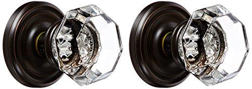 (Emtek 8050-OT-US10B Old Town Clear Crystal Dummy Door Knob, Regular Rosette, Oil Rubbed Bronze, Set of 2 )