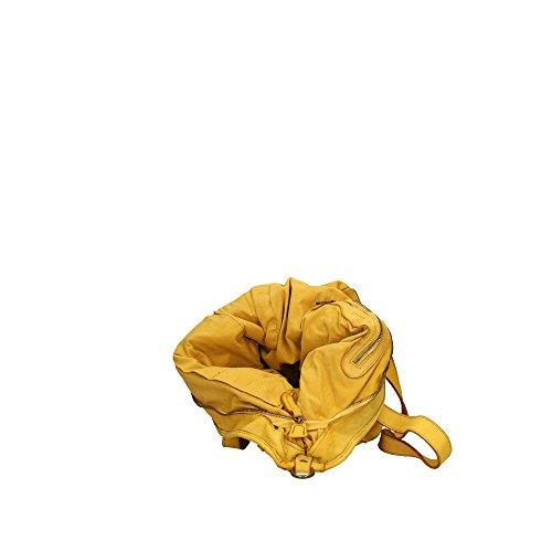 cuir en bandoulière Sac Made Aren véritable femme Italy à Cm in Jaune 40x34x16 qaIOX