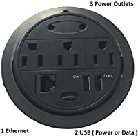 PowerTap Grommet Desktop Power Data Center (3 Power / 1 Ethernet / 2 USB ( Power or Data ))