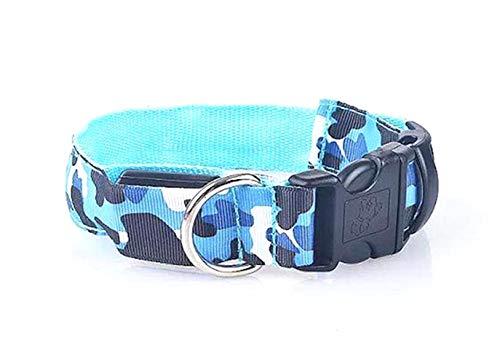 New Tech Junkies Camo LED PET Glow Collar Dog Cat Night Safety Lead Camoflage Adjustable Harness Flash Light Up (Blue Camo, medium) ()