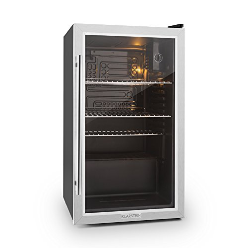 KLARSTEIN Beersafe XXL Fridge • Refrigerator • 2.9 Cubic Feet • Glass Door • Stainless Steel • Three Chrome Metal Inserts • LED Interior Lighting • 5-Step Adjustable Thermostat • Black-Silver by KLARSTEIN