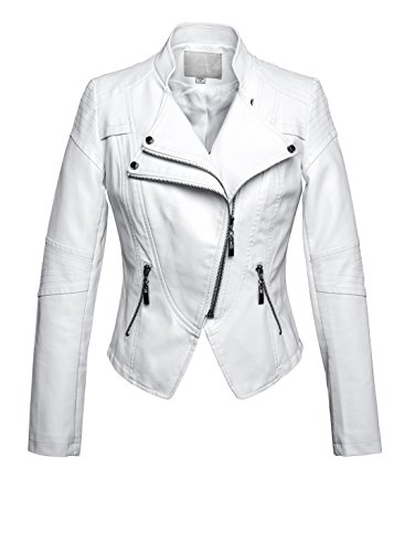 Womens Racer Jacket - chouyatou Women's Fashion Tailored Zip-Up Faux Leather Quilted Racer Jacket (Medium, White)