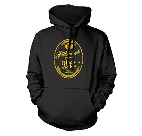 FreshRags Black and Yellow Beer Label Pittsburgh Fan Parody Hoodie LG Black