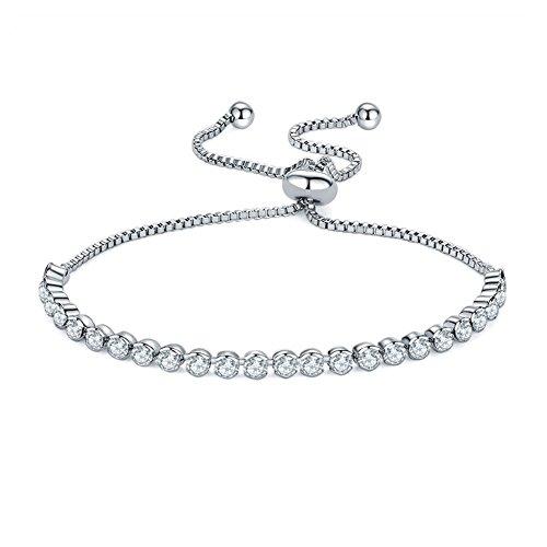 Zealmer Shoopic Crystal Bracelet Round Cut Cubic Zirconia Adjustable Tennis Bracelets for Women (round crystal) ()