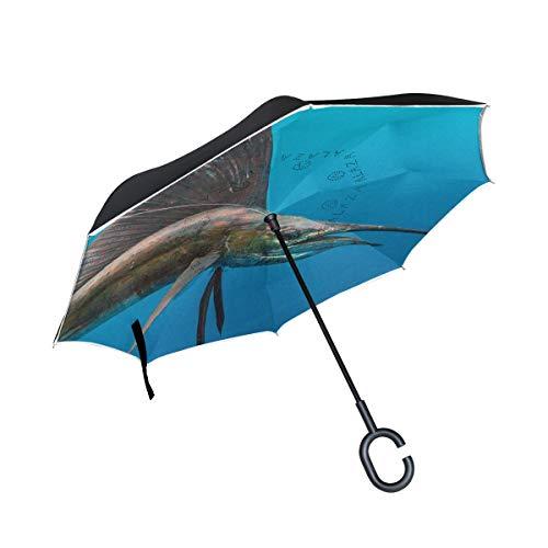 Reverse Umbrella,Sailfish In Deep Sea Inverted Night Reflective Edge Golf Umbrellas,Double Layered Polyester Canopy,O-Shape Handle